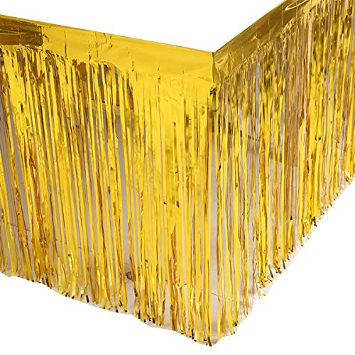 Leegleri 2 Pack Gold Metallic Foil Fringe Table Skirt Tinsel Party Plastic Table Skirt Banner for Parade Floats Mardi Gras Party Decoration(L108 inH 29in) ()