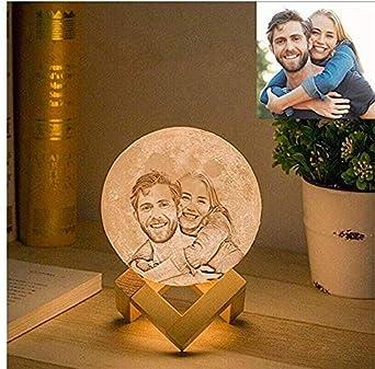 Personnalis/é Bluetooth 3D photo lune lampe lune lumi/ère lecteur de musique LED t/él/écommande cadeau f/ête des m/ères pour cadeau danniversaire de maman