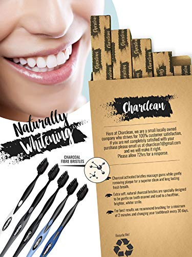 5 Pack Charcoal Infused Toothbrush Ultra Soft Bristles - Naturally Whitening - Ergonomic Soft Touch Handle