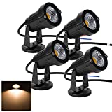 Familite Outdoor Waterproof Decorative Spotlight-6W COB LED Landscape Garden Wall Yard Path Light AC/DC 12V with Flat Base, Pack of 4 (Warm White)