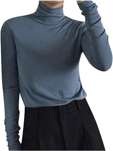 beautyjourney Camisa de Cuello Alto Delgada para Mujer Camisas Básica Blusas de Color Liso Slim Blusa Jumper Camiseta de Manga Larga Camisa Casual: Amazon.es: Ropa y accesorios