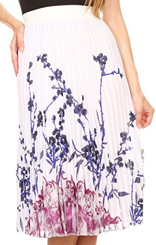 Sakkas 17253 - Caasi Midi Pleated Light Crepe Skirt with Print and Elastic Waist - White/Pink/Blue - (Crepe Pleated Skirt)
