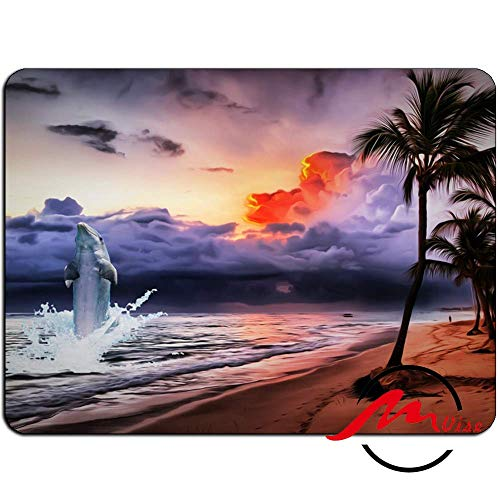 ZMvise Dolphin Oasis Background Fashion Cartoon Mouse Pad Mat Custom Rectangle Gaming Mousepad ()