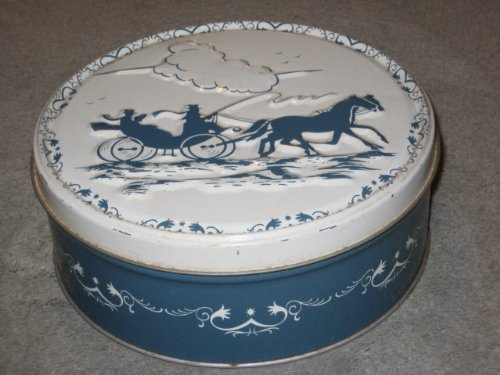 (Vintage Blue/Green & White Horse & Carriage Fruit Cake Cookie Biscuit Candy Collectible 7 x 2 1/2 Inch Tin)