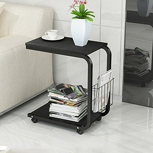 soges Side Table Moving Unite Laptop Desk Small Computer Table with Caster, Black KH02-BK by soges (Image #2)