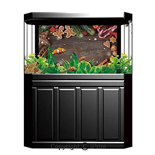 - Fish Tank Background Decor Static Image Backdrop,Gingerbread Man,Festive Christmas Frame with Spices Biscuits Decorative Elements on Table Decorative,Multicolor,Underwater Ecosystem Photography Backdr