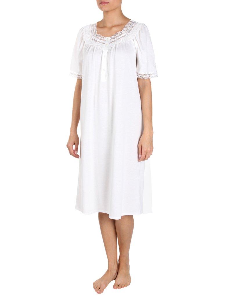 Feraud Champagne Cotton Short Sleeve Nightdress With Lace Neckline 3883120-10044 10 UK/36 EU by Feraud (Image #1)