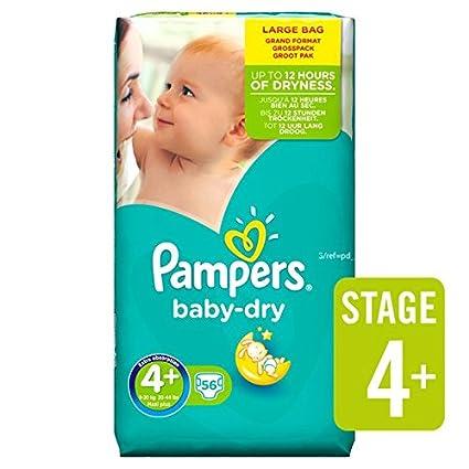 Pampers Baby Dry Pañales Tamaño 4 + grande Paquete 56 por paquete