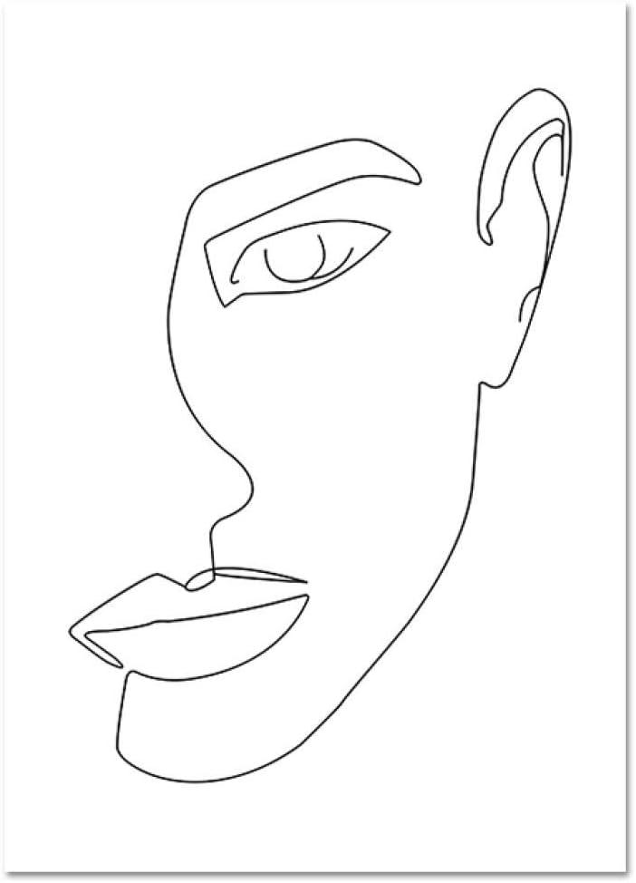 Línea Abstracta Figura Femenina de la Cara Negro Blanco Arte de la Pared Carteles de la Lona Impresiones Minimalista Mujer Pintura Fina Decoración de la Pared del hogar Imagen 50x70cm Sin Marco