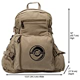 Poke Ball Heavyweight Canvas Backpack Bag in Khaki & Black, Large For Sale