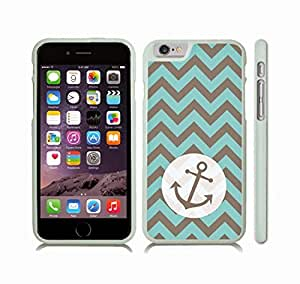 iStar Cases? iPhone 6 Plus Case with Chevron Pattern Stripe Mint Grey Cirlcular Anchor Black , Snap-on Cover, Hard Carrying Case (White)