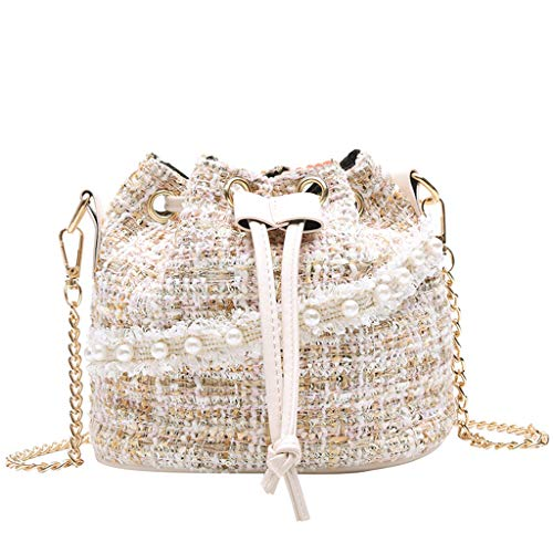Haluoo Pearl Shoulder Bag, Women Girls Fashion Leather Drawtring Crossbody Handbag French Style Pearl Charms Messenger Bucket Bag with Stretchable Chain Strap Mini Satchel Purse Shoulder Bags - Charm Hobo Bag