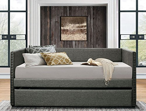 (Homelegance 4969GY Dufort Tuxedo Daybed with Trundle, Twin, Gray)