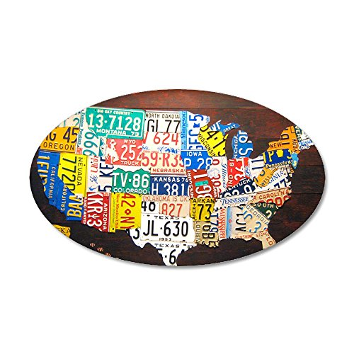 CafePress - United States License Plate - 35x21 Oval Wall Decal, Vinyl Wall Peel, Reusable Wall Cling