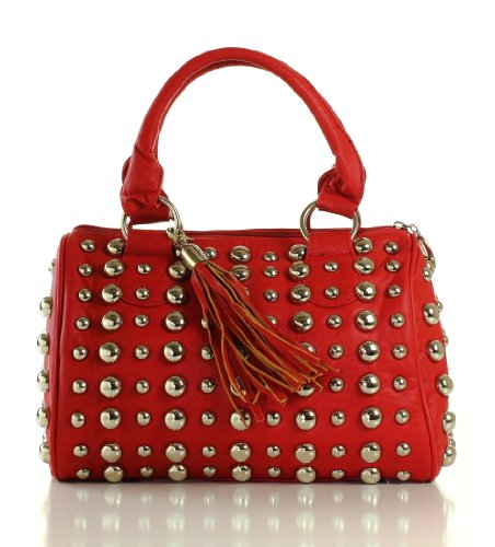 Designer Inspired Skepps Studded Satchel – Red, Bags Central