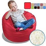 BeanBob Bean Bag Chair (Flaming Red), 2.5ft - Bedroom Sitting Sack for Kids w/Super Soft Foam Filling