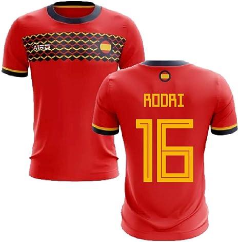 Airosportswear 2019-2020 - Camiseta de fútbol de España (Rodri 16), Hombre, Rojo, Adult 5XL - 58-60