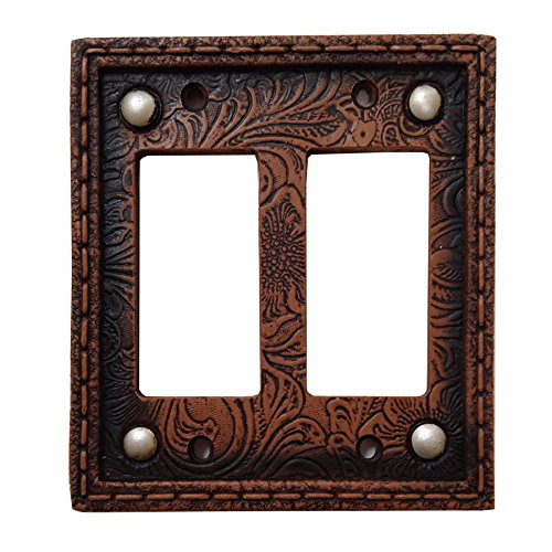 HiEnd Accents Tooled Resin Double Rocker Switch Plate