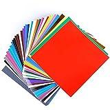 "RABBITGOO Vinyl Sheets Permanent Vinyl Self Adhesive Sheets 12"" x 12"" - 40 Sheets Assorted Colors for Cricut Compatible with Cricut Starter Kit Cricut Explore Air 2 Cardstock"