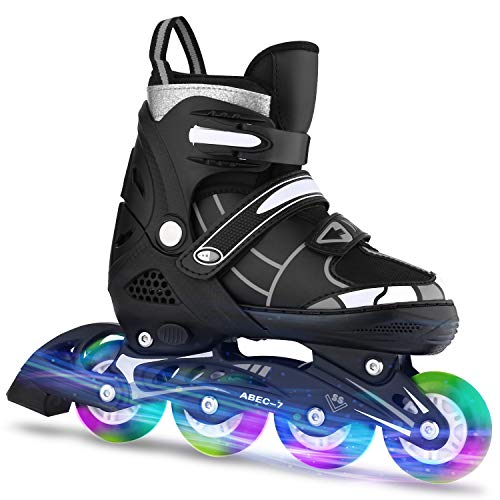 New ANCHEER Adjustable Rollerblades Women/Kids for Boys Girls Light Up Wheels Inline Skates Outdoor ...