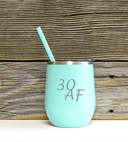 30 AF Stainless Wine Glass in Mint Color with Clear Plastic Lid and Coordinating Straw