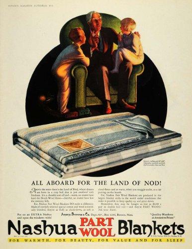 1928 Ad Nashua Part Wool Blanket Grandfather Children - Original Print Ad (Wool Antique Blanket)