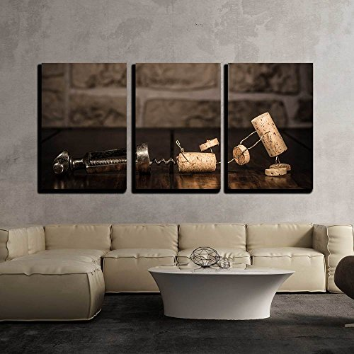 wall26 - 3 Piece Canvas Wall Art - Concept Escape from a Corkscrew with Wine Cork Figures - Modern Home Decor Stretched and Framed Ready to Hang - 16