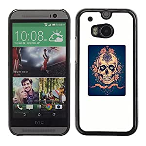 Colorful Printed Hard Protective Back Case Cover Shell Skin for HTC One M8 ( Blue Rose Gold White Poster Scary )