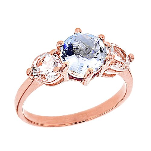 Elegant 10k Rose Gold Genuine Aquamarine with White Topaz Engagement/Proposal Ring (Size 5.5)