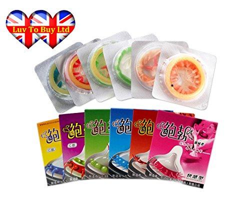 Kondome, Spike Kondom Adult Sex G-Punkt stimulieren Condom (Packung mit 6 verschiedenen Design)