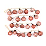 Creative Co-op XM1419 Pink Christmas 72'' L Embossed Mercury Glass Ornament Garland, Pink