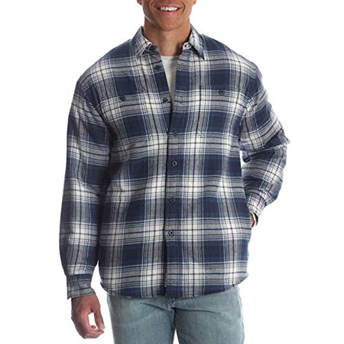 - Wrangler Mens Sherpa Lined Long Sleeve Flannel Shirt (Large 42/44, Dress Blue)