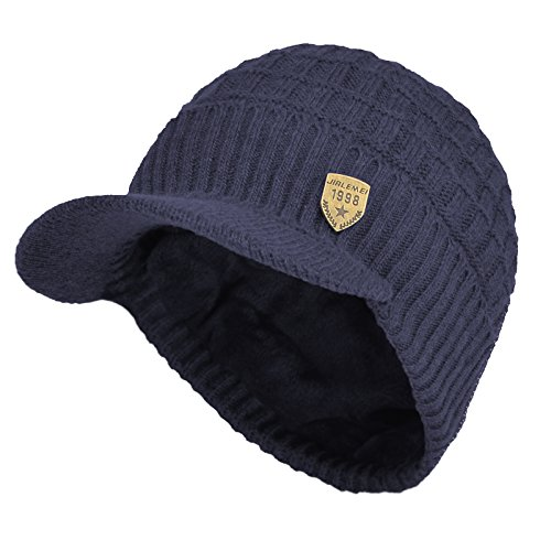 Sports Winter Outdoor Knit Visor Hat Billed Beanie with Brim Warm Fleece Lined for Men and Women (Blue)