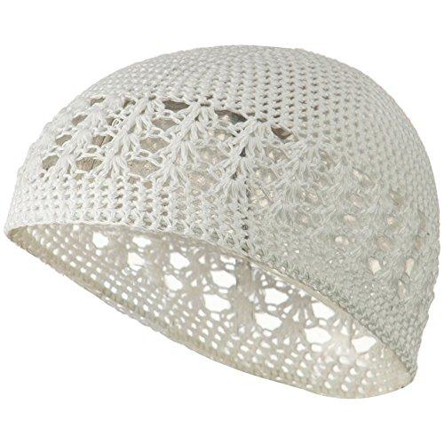 White Crochet Beanie Skull Cap Hat