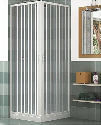 Duschkabine, Duschabtrennung, Duschkabinenwand, Größe: 80 x 90 cm, H 185 cm, aus PVC, Eck-Öffnung, 2 Falttüren, Weiß