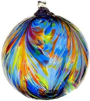 Kitras Art Glass Feather Witch Ball Sunny Sky Multi Colors 6
