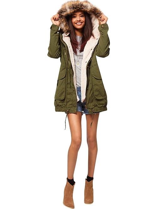 pretty nice b7288 b926c SaiDeng Women's Thick Plush Padded Detachable Liner Coat Jacket