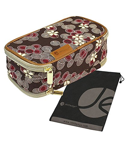 JAVOedge Brown Cherry Blossom Double Sided Cosmetic Toiletry and Jewelry Bag Travel Organizer (8