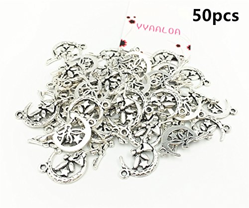 YYaaloa 50pcs 26x16mm Moon and Angel Vintage Style Charms Pendant for Necklace Bracelet Crafting Jewelry Making Accessory (Moon and Angel Charms 50pcs Silver) (Earring Display Angel)