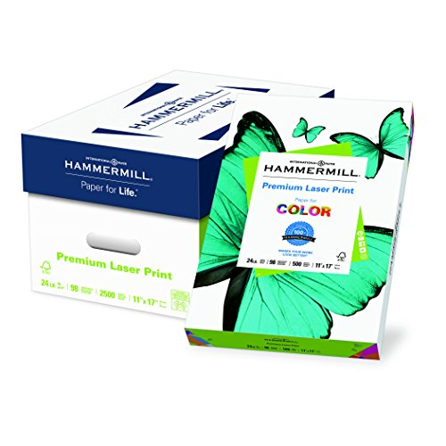 Hammermill Paper, Premium Laser Print Paper, 11 x 17 Paper, Ledger Size, 24lb Paper, 98 Bright, 5 Reams / 2,500 Sheets (104620C) Acid Free - 11 17 Paper X