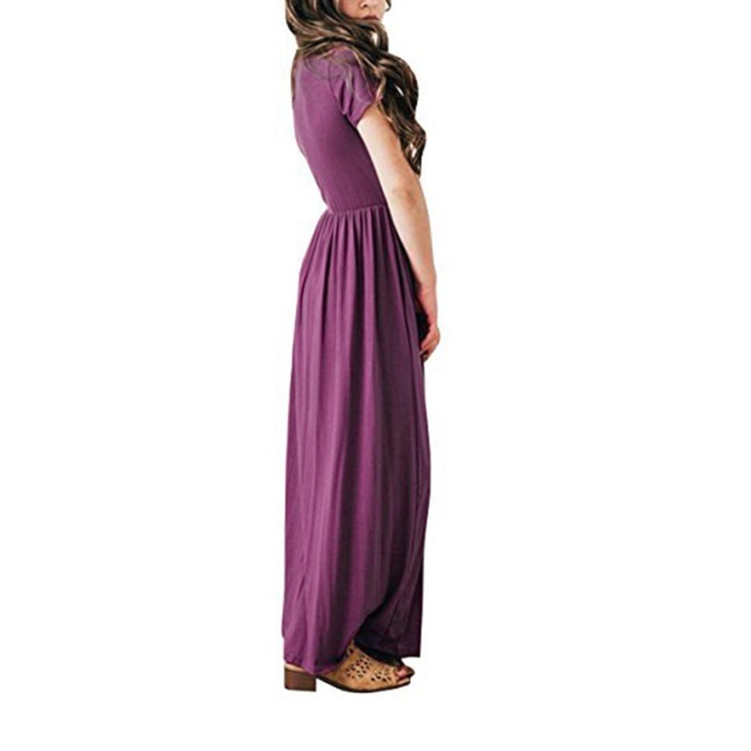 Veepola Kid Girls Solid Dress Casual Sundress Beachwear Floor-Length Long Dresses