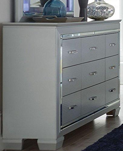 Homelegance Allura 9 Drawer Dresser & Mirror w/ LED Lighting in Silver - (Dresser Only) by Homelegance