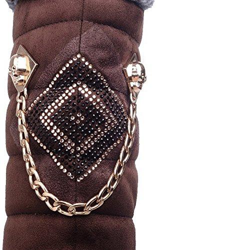 AllhqFashion Mujeres Gamuza(Imitado) Caña Media Sólido Sin cordones Mini Tacón Botas Marrón