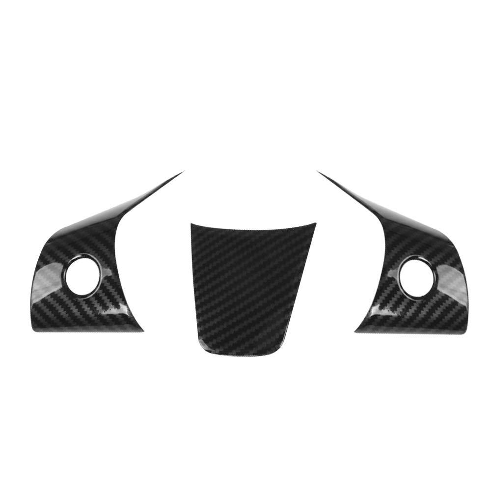 Carrfan f/ür Tesla Model 3 Auto innen zubeh/ör lenkrad Taste Abdeckung Trim 3 st/ücke abs kohlefaser Stil 3 Teile//Satz
