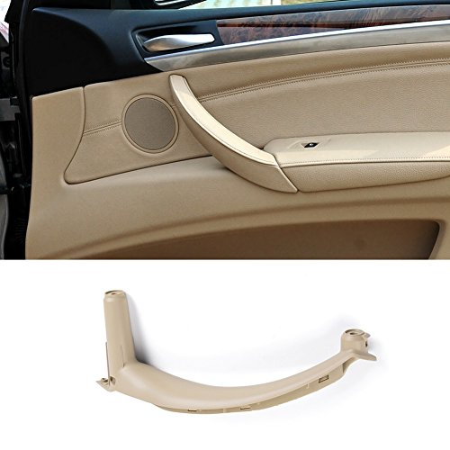 Jaronx for BMW X5 X6 Door Pull Handle, Inner Door Trim Grab Cover Passenger Side Right Front/Right Rear Door Armrest Bracket (Fits:BMW X5 2008-2013 and BMW X6 2008-2014) (Leather Cover - Panel Rear Passenger Door