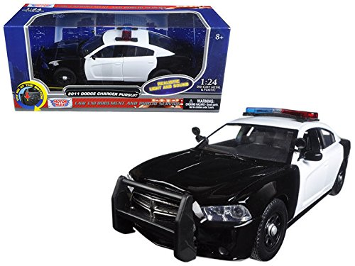 New 1:24 W/B MOTOR MAX POLICE COLLECTION - WHITE & BLACK 2011 DODGE CHARGER PURSUIT WITH LIGHTS AND SOUNDS Diecast Model Car By MOTOR MAX ()