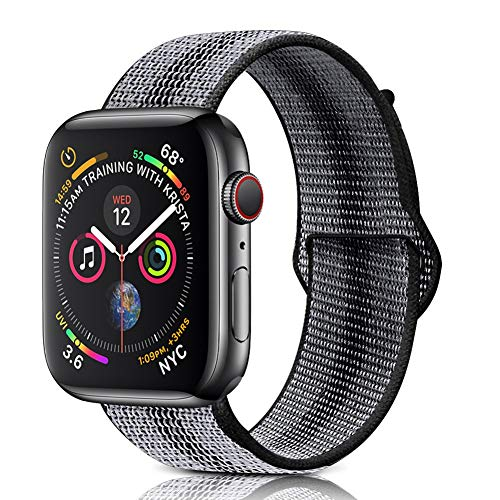 Winmy Sport Band Compatible 42mm 44mm Watch Bands, Lightweight Breathable Woven Nylon Loop Strap for iWatch Series 4 3 2 1, for Women Man - Black Stripe ()