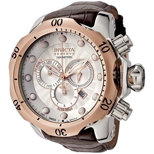 Invicta Men's 0359 Reserve Collection Venom Chronograph Brown Leather Watch Invicta Reserve Venom