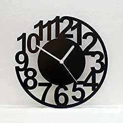 Simple Art Digital Wall Clock Modern Mute Large Wall Clock Creative Living Room Decorative Wall Clock 14 inch - Round/Black