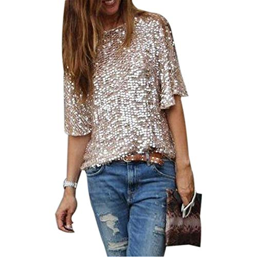(Wpch Fashion Women Gold Sequins Sexy Off Shoulder Short Sleeve Loose Casual Slim T-Shirt Tops Glitter Sparkle T-Shirt Pink XL)